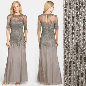 e213cfdfab4989 Image is loading NWT-Adrianna-Papell-Embellished-Illusion-Yoke-Mesh-Gown-
