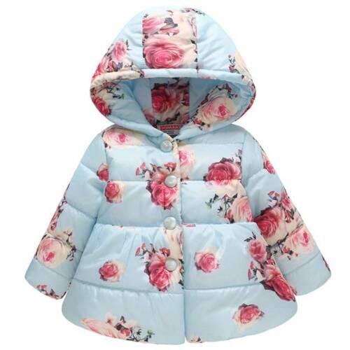 Winter Kids Girls Coat Padded Warm Floral Jacket Fur Collar Outwear Hooded 2-12Y