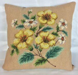 VTG-Floral-Needlepoint-Throw-Pillow-Petite-12-034-X-12-034-Yellow-White-Flowers-Beige