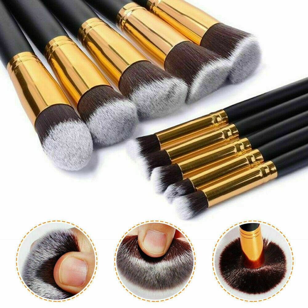 10pcs Pro Makeup Brushes Powder Foundation Cosmetic Eyebrow