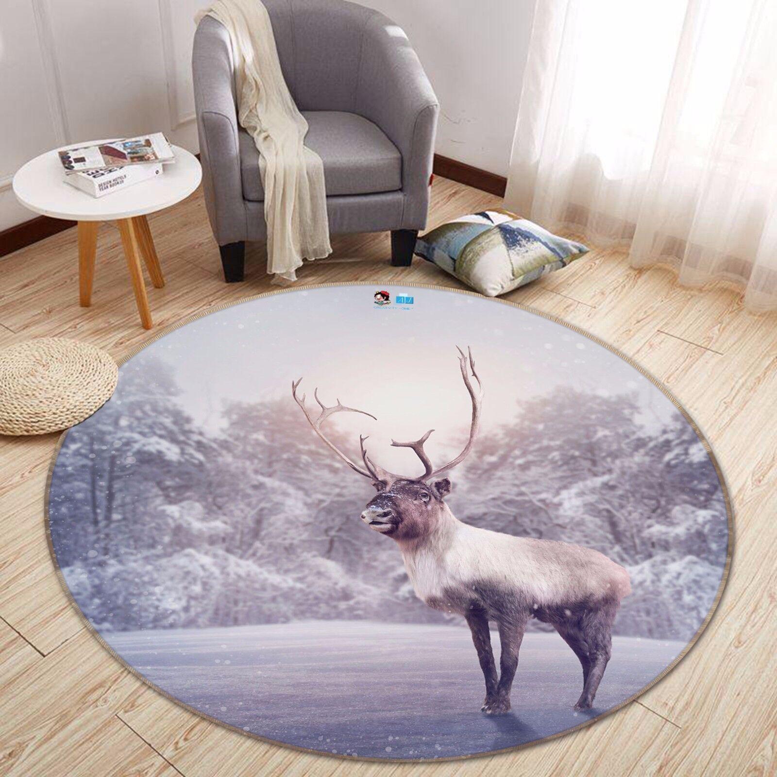 3D Snowflake Deer 722 Non Slip Slip Slip Rug Mat Room Mat Round Elegant Photo Carpet CA c5766e