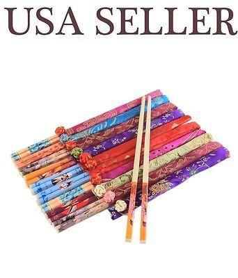10 Pairs Classic Asian Bamboo Chopsticks Silk Packaging Wedding Dinner Gift Set