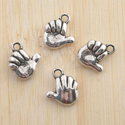 12pcs antiqued silver NO.1 gesture pendant charm G1159