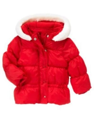 GYMBOREE COZY CUTIE RED FUR TRIM HOODED PUFFER JACKET 6 12 24 2T 3T 4T 5T NWT