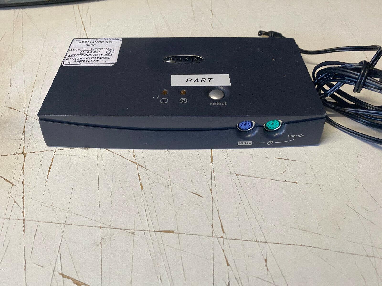 Belkin Omniview E-Series 2-Port PS/2 VGA KVM Switch F1DB102P + PSU FREE P&P UK