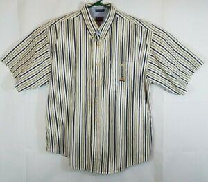 Vintage 90s Bugle Boy Tan Striped Short Sleeve Button Down Shirt