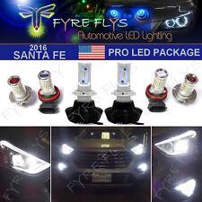 Premium 6000K 6 Piece LED Low Beam, DRL & Fog Light Package for 2016 Santa Fe