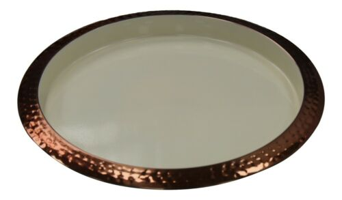 Large 35cm Round Hammered Copper /& Cream Serving Tray Hammered Finish Metal Tray
