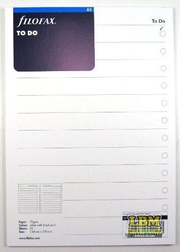Filofax A5 size To Do Notepaper Sheets Refill Organiser Insert 342211