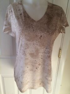Womens-size-M-Coldwater-Creek-BEIGE-white-lined-short-sleeve-top-shirt-blouse