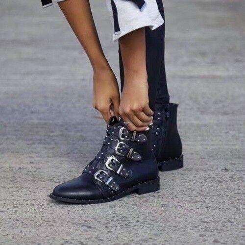 Fashion Kunstleder bottes mit NIETEN & Schnallen noir