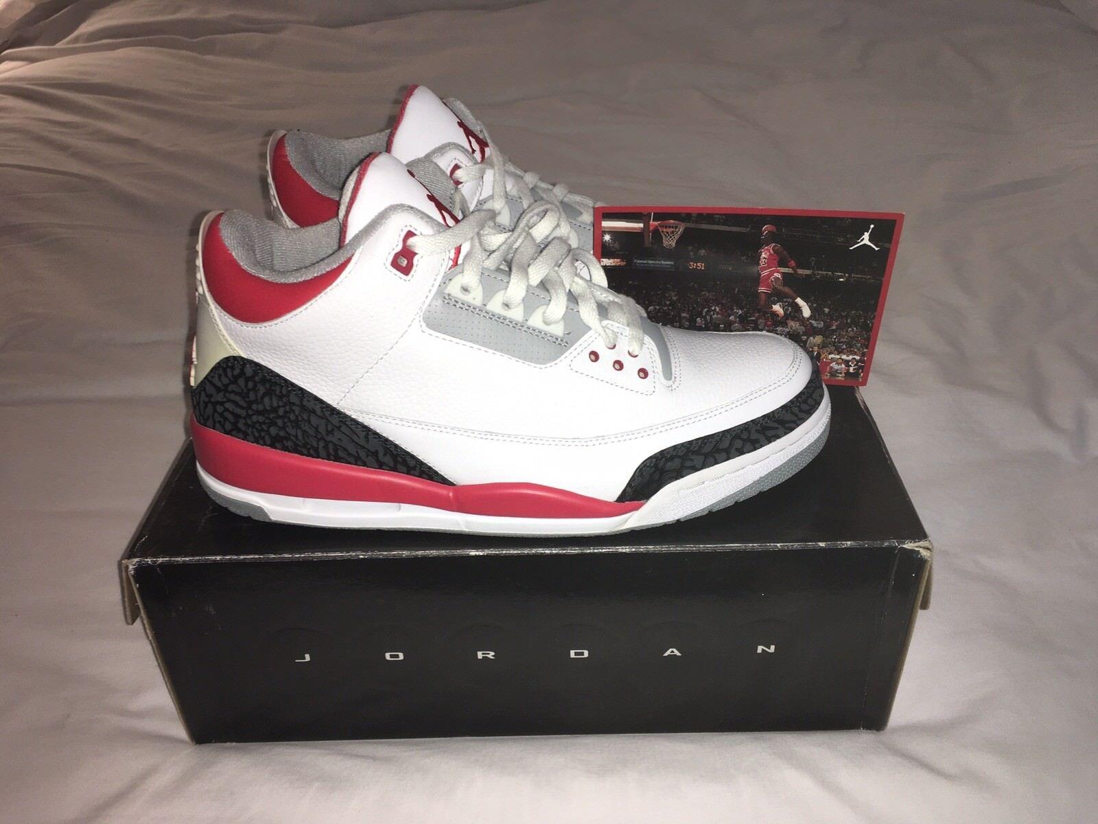 2007 Air Jordan 3 Retro White FireRed CementGrey Size 13 BNIB