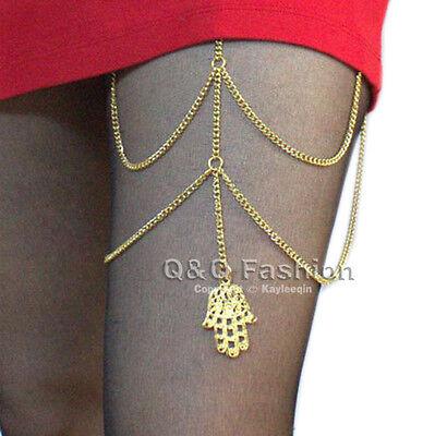 Tribal Gold Hamsa Hand of Fatima Leg Thigh Harness Garter Body Chain Fancy Dress