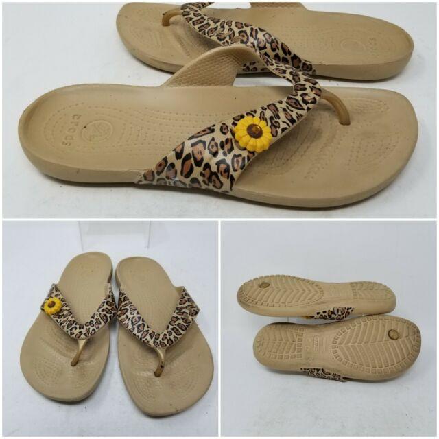 Crocs Tan Leopard Slip On Thong Flip Flop Flat Sandal Slides Women's Size 8 W