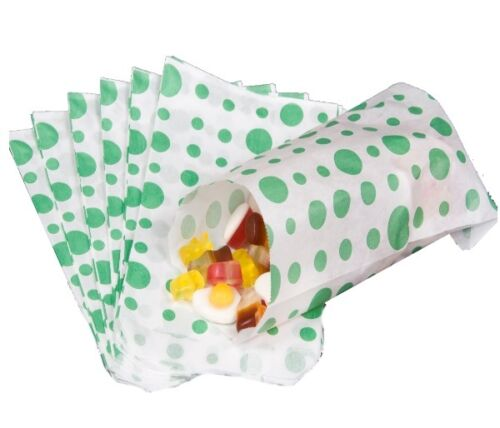 DARK GREEN POLKA DOT PAPER CANDY SWEET FAVOUR BUFFET CAKE BAGS 7x9 INCHES