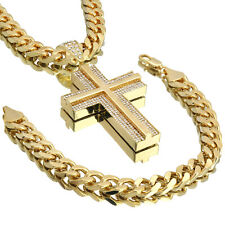 """Mens Hip Hop  XL Black Jesus Pendant With 10mm 30/"""" Rope/& 3mm 30/"""" Ball Chain"""