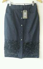 Bnwt Allsaints Swyni Skirt.uk 8. £128.denim.embellished.indigo.**ON OFFER**
