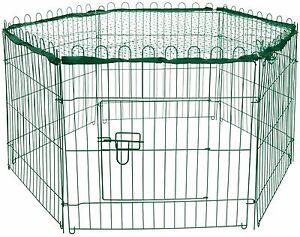 Metall-Kaninchengehege-Gruen-Tuer-Netz-Hasengehege-Freilaufgehege-Kleintiergehege
