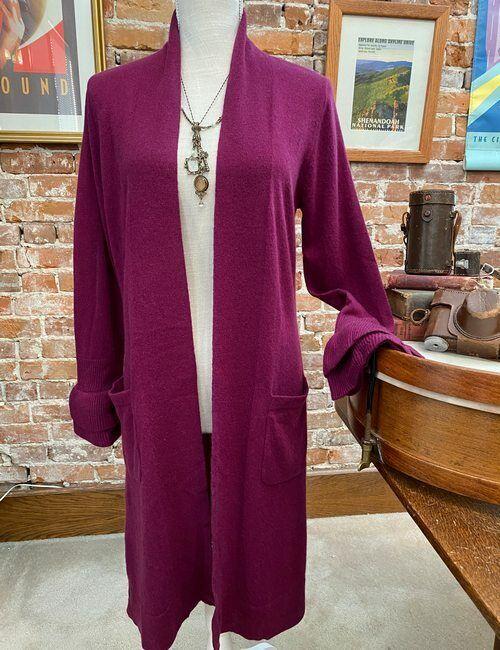 Isaac Mizrahi Plum 2-ply Cashmere Ruffle Cuff Long Cardigan Sweater Topper New