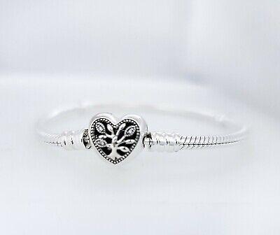 NEW PANDORA Moments 925 Family Tree Heart Clasp Snake Chain Bracelet  598827C01 | eBay