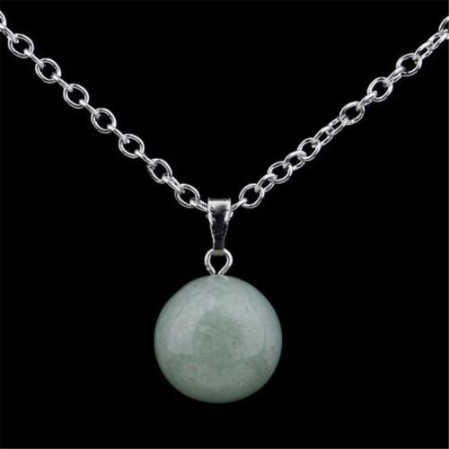 Pierre en cristal Quartz naturel rond enfilade perle pendentif collier de charme