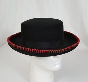 VTG Bollman Hat Doeskin Felt 100% Wool Women s Hat Black Red Stitch ... 0842dc498711