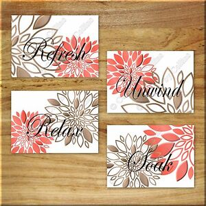 Coral Brown Bathroom Wall Art Picture Prints Decor Floral Refresh Relax Unwind Ebay