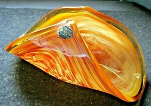 Murano-Italy-Hand-Made-White-Cristal-Amber-Fold-Up-Art-Glass-Bowl-Center-Piece