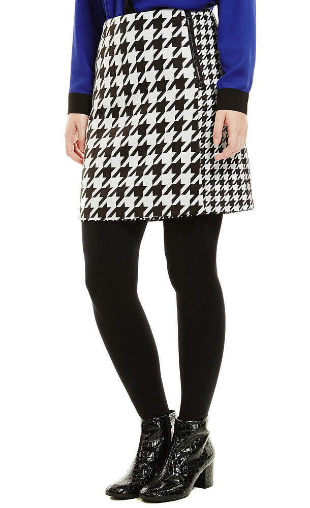 MARKS & SPENCER COLLECTION Dogtooth Print A-Line Mini Skirt BNWT