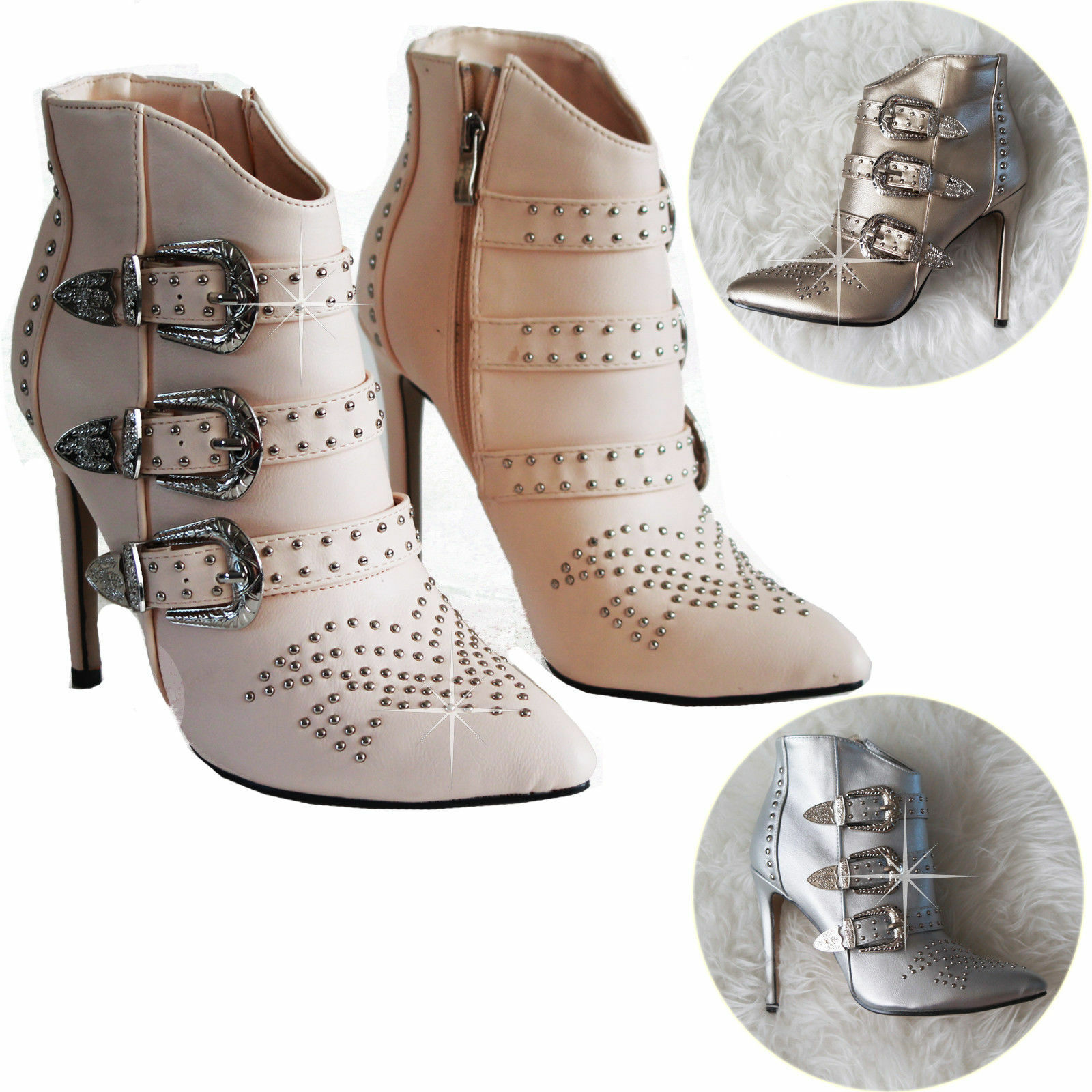 Women's Shoes Ladies High Heels Pointed-Toe Stiletto Shoes Women's Ankle Straps Shinny Shoes d98a76
