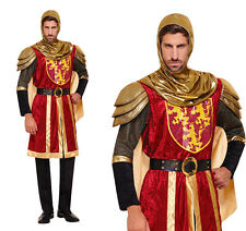 Mens Medieval Knight Crusader Warrior Costume Adult Fancy Dress Outfit New