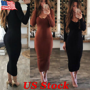 Fashion-Women-039-s-V-Neck-Long-Pencil-Winter-Knitted-Sweater-Bodycon-Party-Dress-US