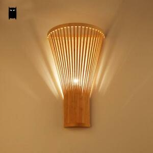 Details about Bamboo Wicker Rattan Shade Wall Lamp Fixture Asian Sconce  Lamp Bedroom Hallway