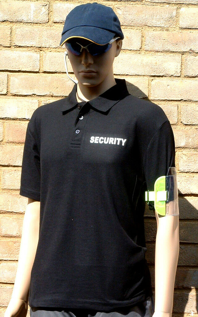 10 SECURITY SIA ID ARMBAND & PRINTED POLO HI VIS  XXL