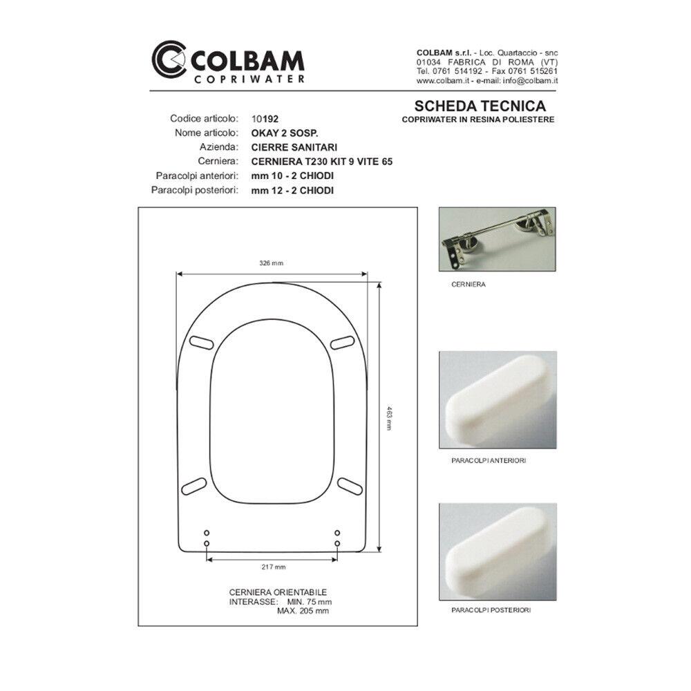 Copriwater coprivaso coprivaso coprivaso compatibile serie Okay 2 sospeso azienda Cierre Sanitari c6c3f6