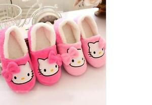 2019 Winter Women Slippers Cartoon Hello Kitty Indoor Home Shoes Warm Adult Pink