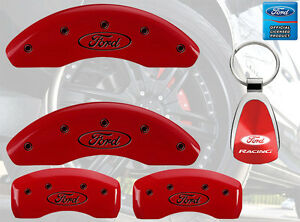 MGP Caliper Brake Covers For Ford 2013-2017 Explorer Red Paint Custom Black Logo