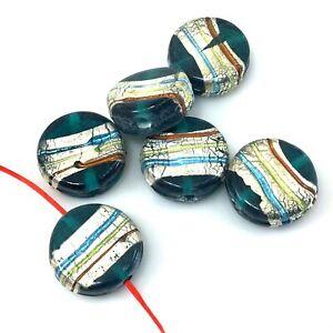 Handmade-Lampwork-Glass-Beads-Artisan-Lampwork-Beads-SRA-Foil-Ribbon-Coin-Bead