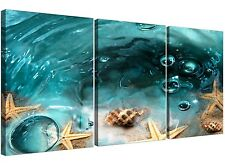 Seaside Starfish Canvas Pictures 3 Panel for your Bathroom 3253