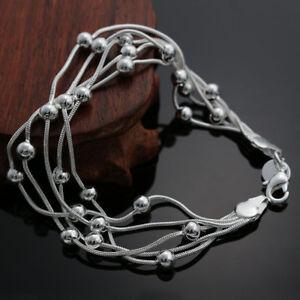 ASAMO-Damen-Armband-mit-Kugeln-925-Sterling-Silber-plattiert-Schmuck-A1234