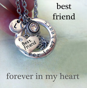 182ab9add9ed7 Details about Best Friend Forever In My Heart Necklace, Swarovski  Birthstone, Initial Charm