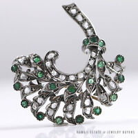 ANTIQUE GEORGIAN EMERALD & EARLY ROSE CUT DIAMOND 18K WHITE GOLD BOUQUET BROOCH