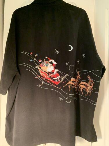 Tori Richards Embroidered Christmas Shirt Size 3XL