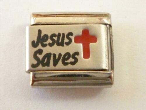 SILVER CLASSIC ITALIAN CHARM LINK JESUS SAVES fits all design 9mm bracelet SO13