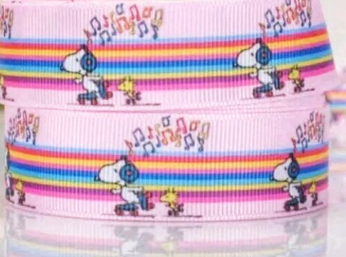 """7//8/"""" 2 YARDS Snoopy Ribbon Woodstock Grosgrain Scrapbooks Crafts Bows Cards"""
