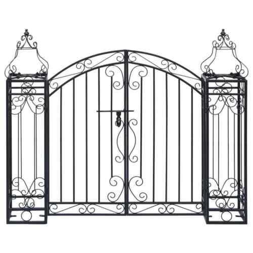 Metal Garden Gate Black Wrought Iron Double Gates Entry Door Arch Climbing Gates
