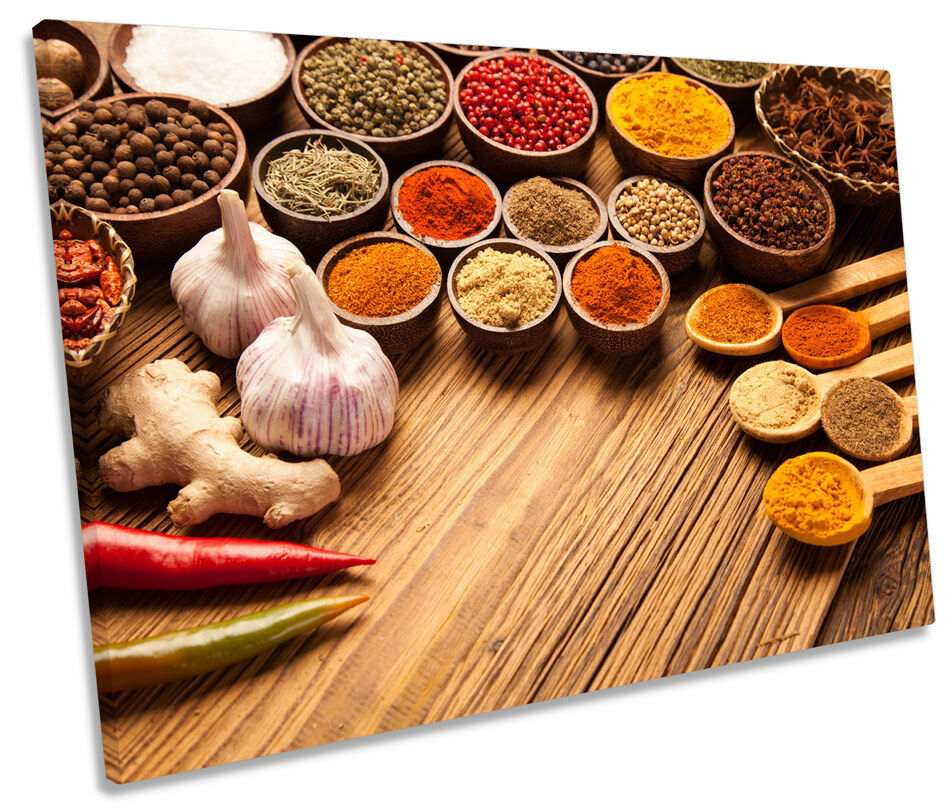 Indian Curry Spices Herbs Picture SINGLE CANVAS WALL ART Print