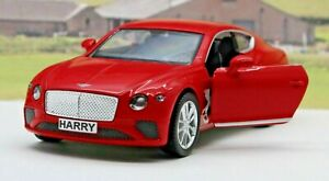 PERSONALISED-PLATES-Gift-Red-Bentley-Diecast-Model-Boys-Dad-Toy-Car-Present-Boxd