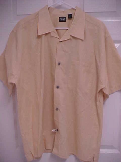 PING Collection Men Short Sleeve Salmon color Button Front Camp Shirt XL Ping