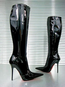 CQ-COUTURE-CUSTOM-KNEE-HIGH-BOOTS-STIEFEL-BOTTES-PATENT-LEATHER-BLACK-NOIR-35